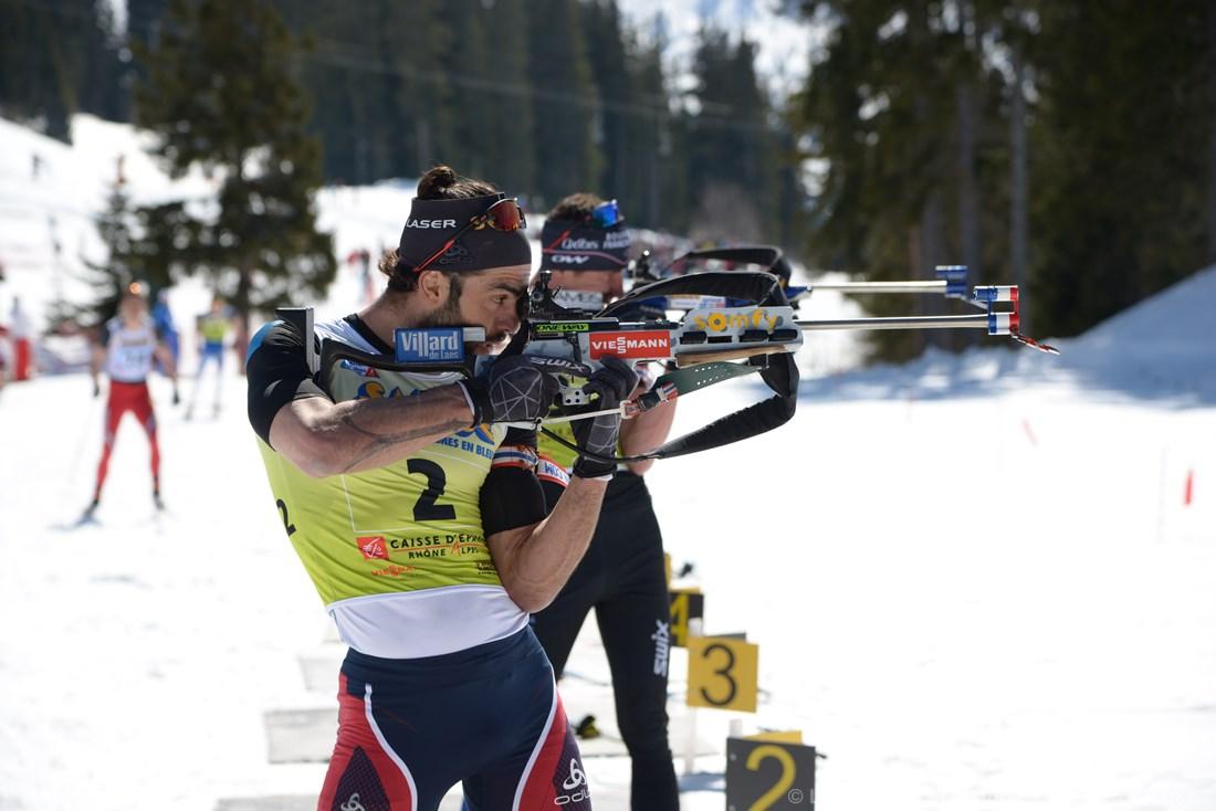 Photographe De Ski Nordique En Savoie : Simon Fourcade Au Tir à Méribel Lors Des Championnats De France De Biathlon
