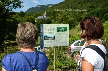 Photographe Tourisme Sur Une Balade Gourmande : Des Participants Lisent Des Panneaux D'informations