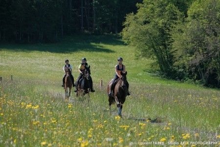 Des Cavalières Dans Un Champs De Fleurs Lors Du Raid Multi-sports En Haute Savoie