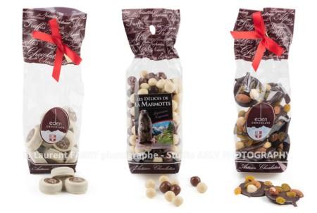 Photographe Packshot Produits Alimentaires : 3 Sachets Chocolats