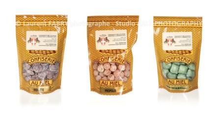 Studio Packshot Alimentaire De 3 Sachets Confiserie Miel