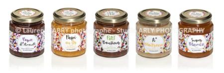 Photographe Packshot Produits Alimentaires : 5 Pots De Confitures