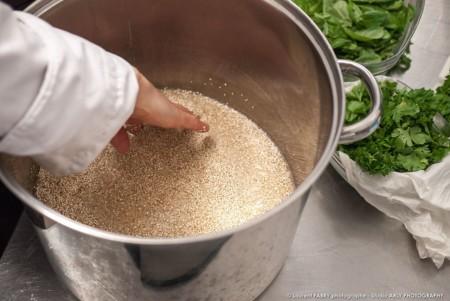 Rinçage Des Graines De Petit épeautre Par Le Traiteur Bio
